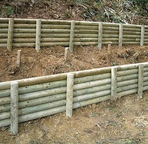 (写真)兵庫県加古川市 里山防災林(丸太柵)
