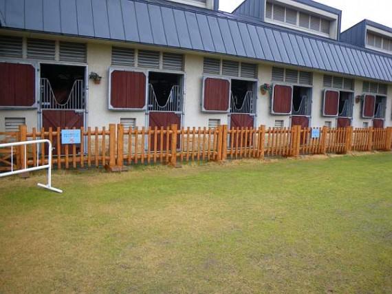 三木ホースランドパーク 馬舎前の木製柵