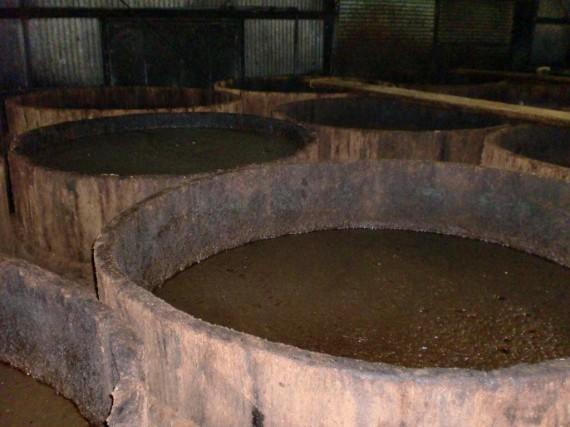 醤油桶(上部から) この中で、醤油も素となる「諸味(もろみ)」を約1年半の間熟成させます