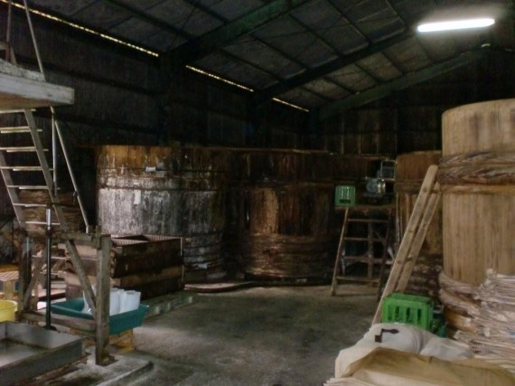 醤油蔵の入口からの写真 (蔵の中には約40本の木桶があります)