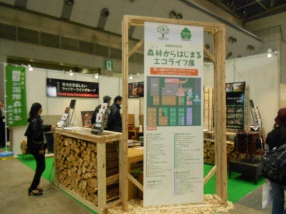 「森のエコライフ展」のブース  (こちらは、「国際森林年」とあって例年並み)