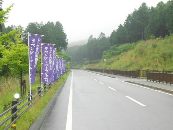 「ラベンダーパーク多可」への接続道路 (右側が、弊社施工の「木柵工(転落防止柵))