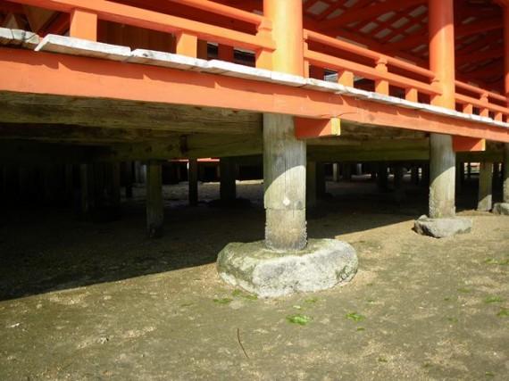 「厳島神社・廻廊」丸柱の基礎部分(上部から通し)