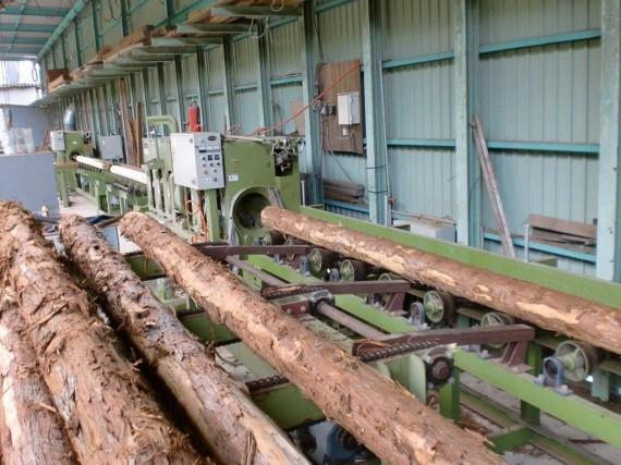 間伐材を加工する 「丸棒加工機」 (原木の投入側から)