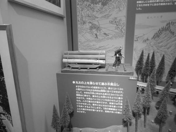 林業の2.5次産業化 素材生産・木馬出しの様子 (川上村林業資料館の展示から)