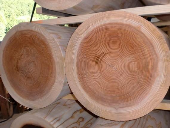 ロータリー丸太(丸棒・円柱丸太) 直径30cmの断面(拡大)
