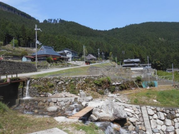 棚田百選「岩座神」の谷川に架かる丸棒製「流れ橋」