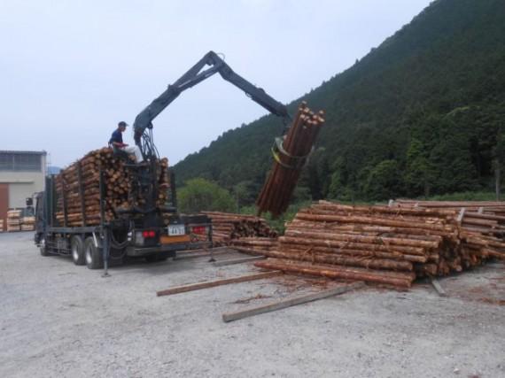 間伐材(小径木)の搬入時の様子